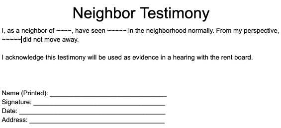 Neighbor testimony used with details removed